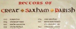 Rectors of Great Saxham Parish - Regin Northfield