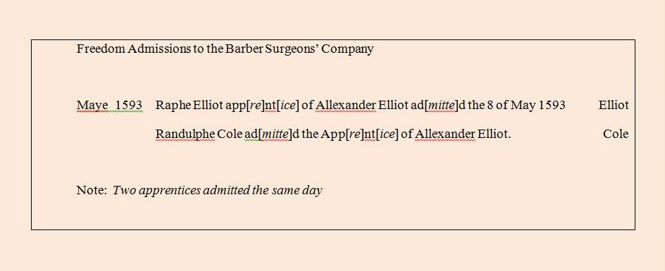 1593 Barber Surgeons Company Admissions Transcribed from the Original Document